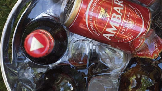 Cooler with bottles and cans of beer