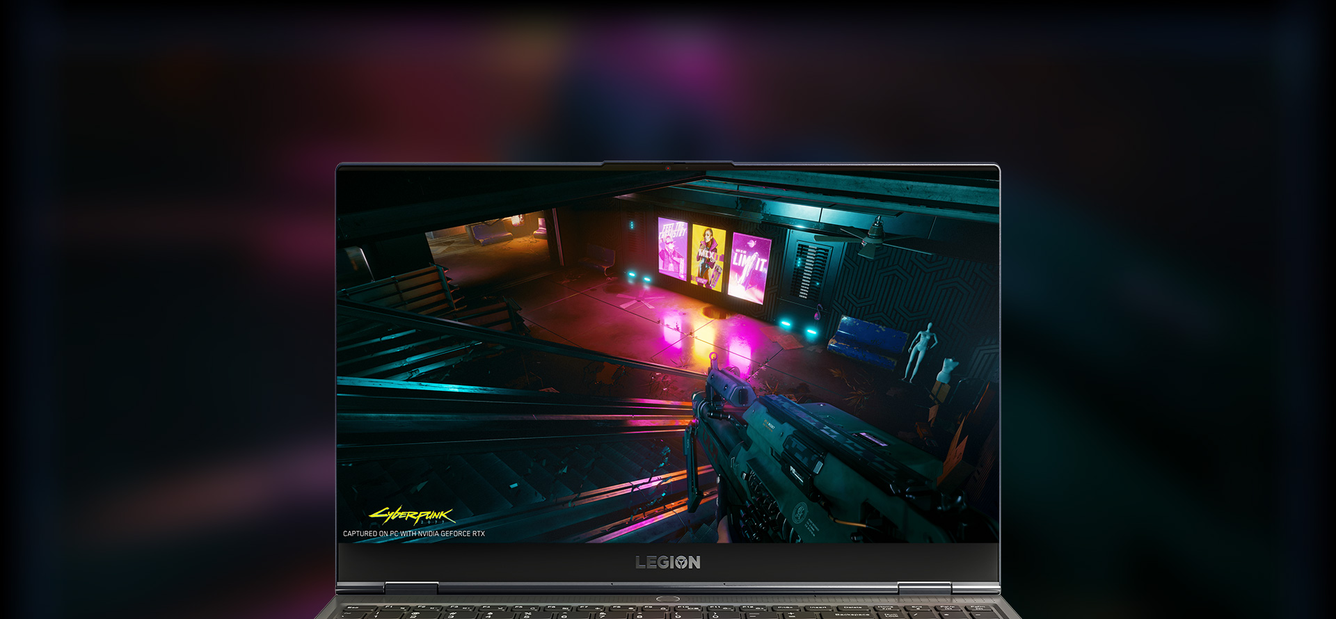Front view of Lenovo Legion laptop screen with action game in the screenfill