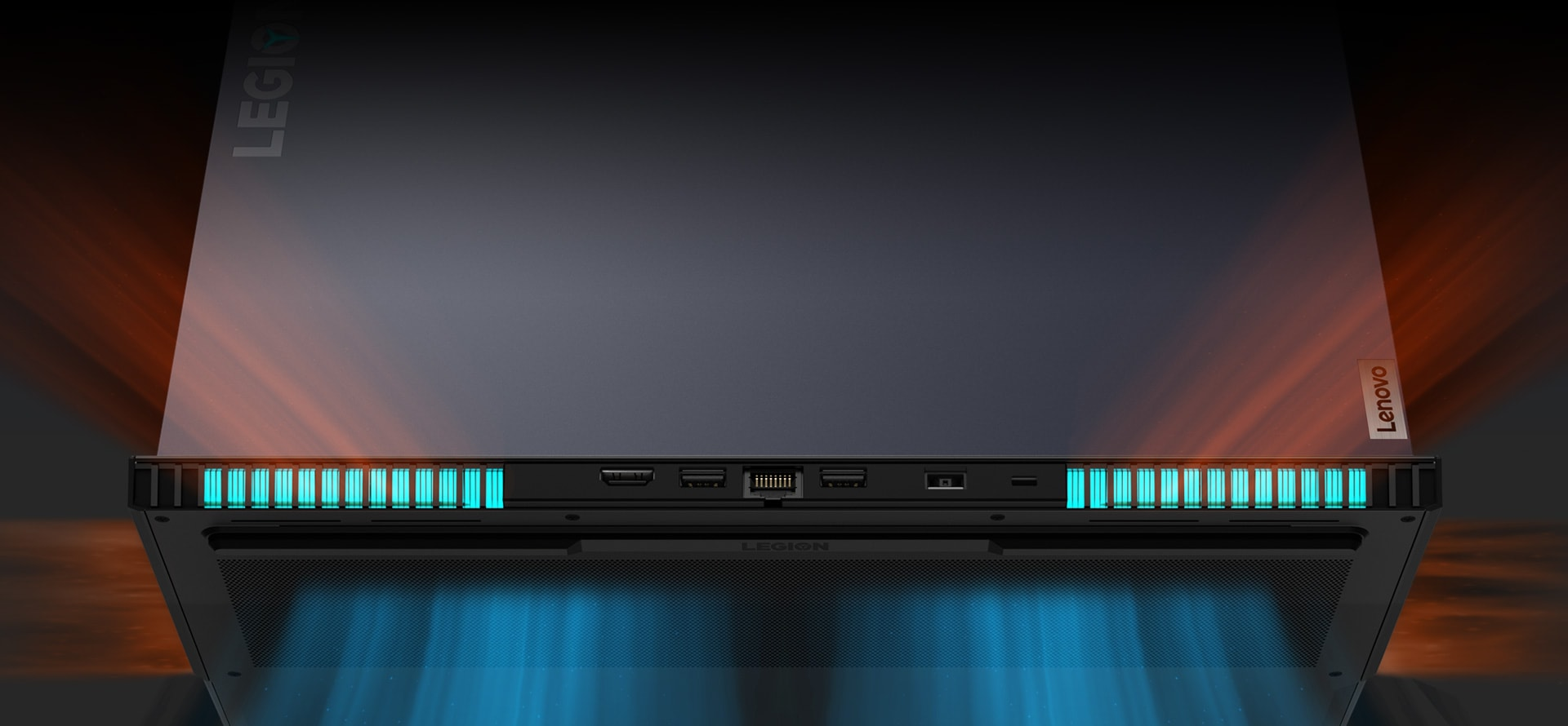 Rearview of Lenovo Legion coldfront 2.0 thermal system
