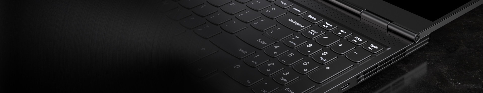 Up close view of Lenovo laptop keyboard