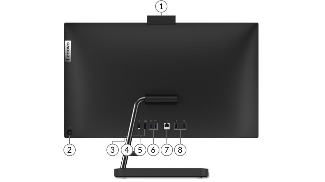 IdeaCentre AIO 3i Gen 6 (24 Intel) black rear ports view