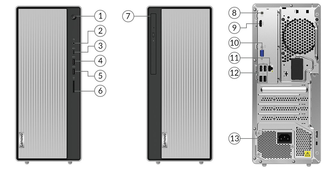 Lenovo IdeaCentre 5 Gen 6 AMD side views showing ports and slots.