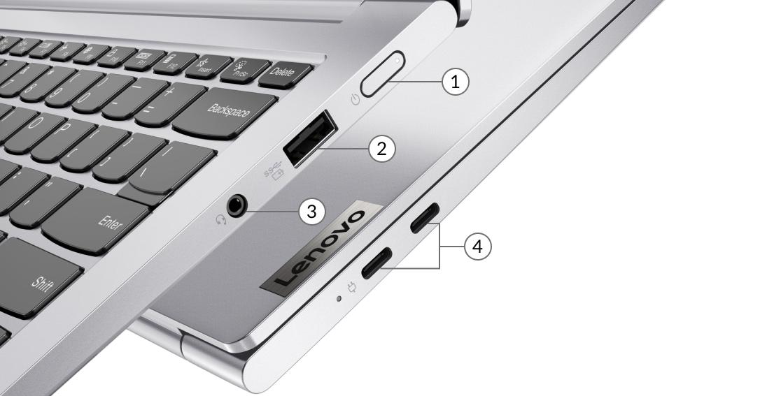 Lenovo Yoga Slim 7i Pro (14) — widok z boku z portami, przyciskiem zasilania, gniazdami USB-A i USB-C oraz gniazdem słuchawkowym