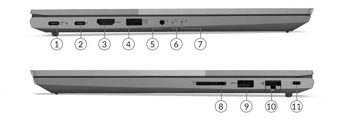 Lenovo ThinkBook 15 Gen2 Intel laptop side views showing ports and slots.